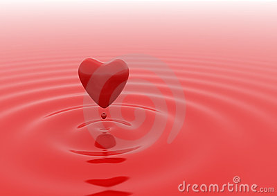 Heart red water drop