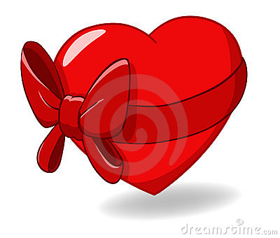 Heart Ribbon bow St Valentines Day