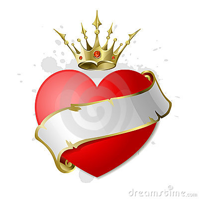 Heart with ribbon and crown.