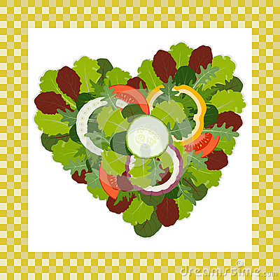 Heart of salad leaves