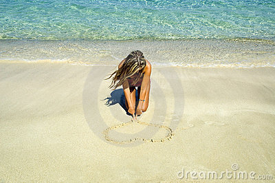 A heart on the sand
