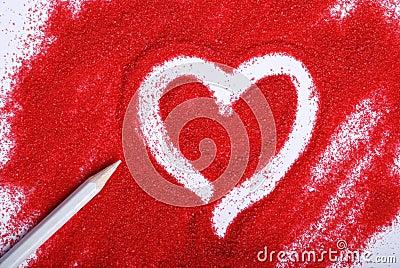 Heart on sand