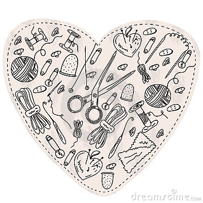 Heart with sewing and kniting items