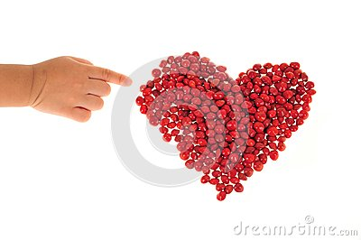 Heart Shape Arranged With Red Beans