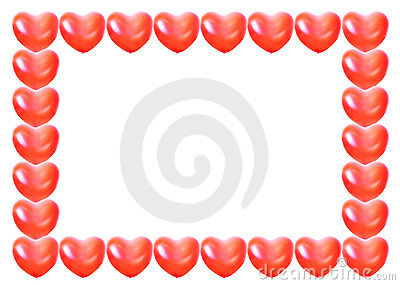 Heart shape balloon frame isolated