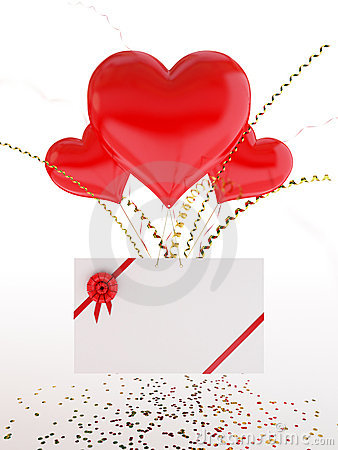 Heart shape balloons and a love note on Valentine