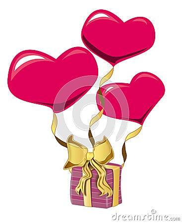 Heart shape baloon and gift