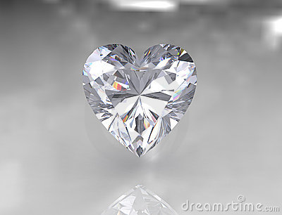 Heart shape brilliant white diamond stone