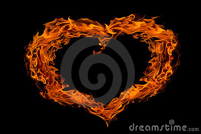 Heart shape fire flame, isolated