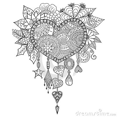 Free Heart Shape Floral Dream Catcher For Coloring Book For Adult Stock Image - 64480591