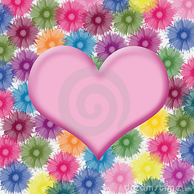Heart shape on flower background