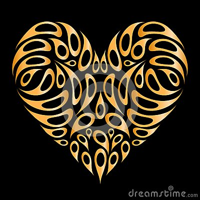Heart shape golden on black for your design