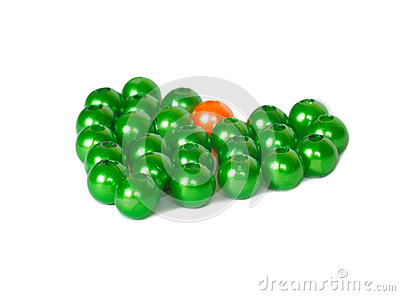 Heart shape of green and orange beads