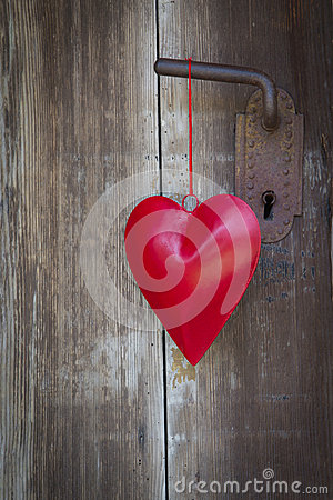 Free Heart Shape Hanging On Door Handle For Valentine, Christmas, Wed Royalty Free Stock Image - 35002466