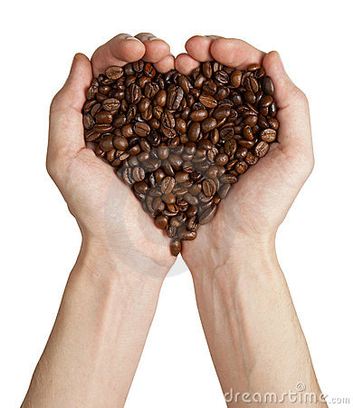 Free Heart Shape Made From Coffee Beans In Hands Royalty Free Stock Image - 19364796