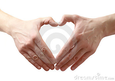 Heart shape made of two hands.