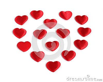 Heart shape from many small red hearts