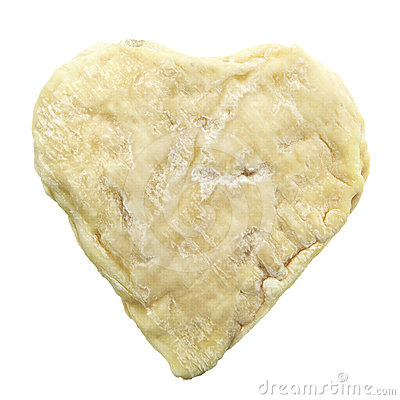Heart shape moldy goat cheese isolated on white