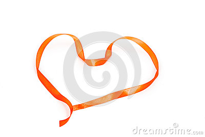 Heart shape of orange braid