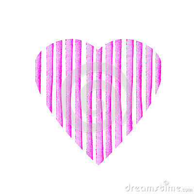 Heart shape of pink stripe painted in watercolor. Retro style background. Element design for posters, stickers, banners, invitatio Stock Photo