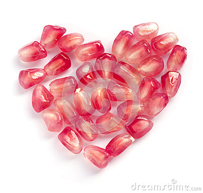 Heart shape pomegranate seeds