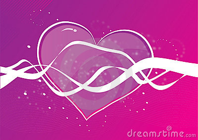 Heart shape on purple background