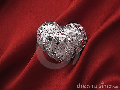 Heart shape on red