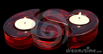 Heart shape red candles