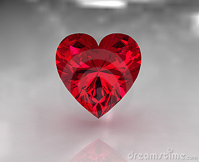 Heart shape red garnet stone