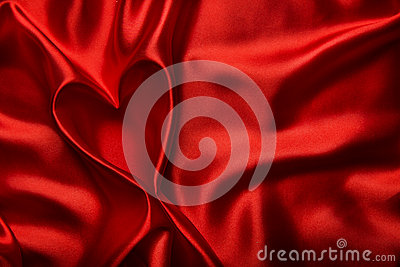 Valentines Day Background, Heart Red Silk Fabric, Wedding Love Stock Photo