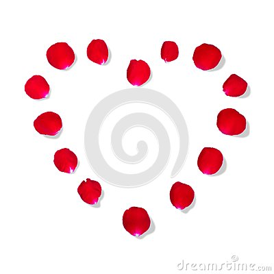 Heart shape by rose petal