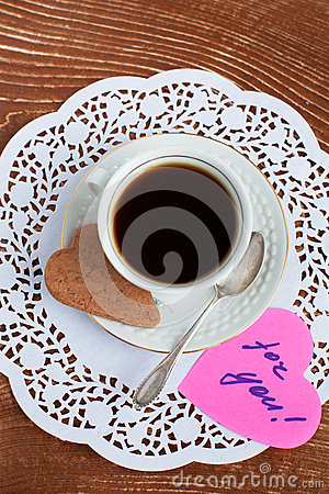Heart shape Saint Valentine s Cookie with cup of coffee