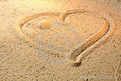 Heart shape in sand