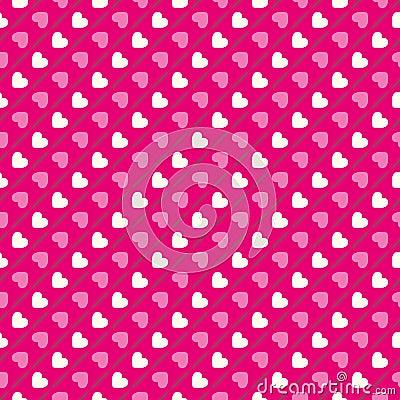 Heart shape seamless pattern. Pink and white Stock Photo