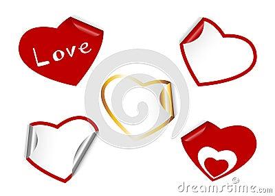 Heart shape set of stickers.