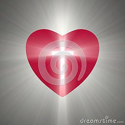 Heart shape with a shining cross inside