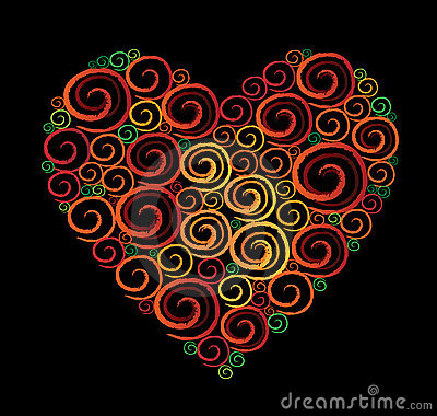 Heart Shape Swirl Black background