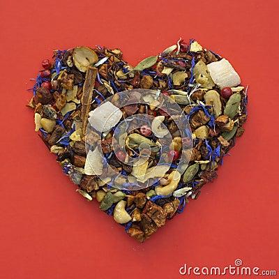 Heart shape of tea