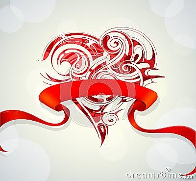 Heart shape on wedding card