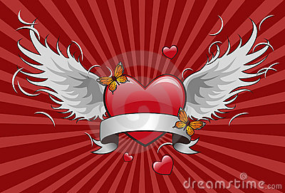 Heart shape with wing