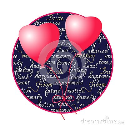 Heart shaped balloons and manual lettering . Cartoon Illustration