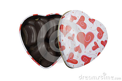 Heart shaped box filled with pralines