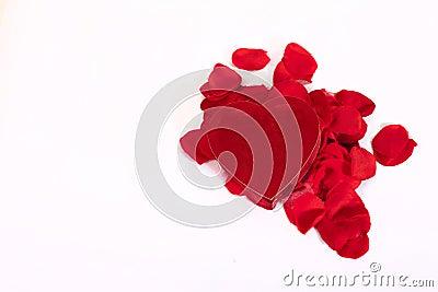 Heart shaped box and rose petals
