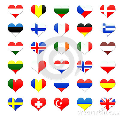 Heart shaped buttons of Europe