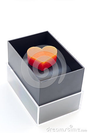 Heart-shaped candles in box