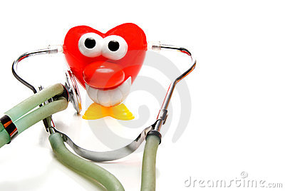 Heart shaped character with stethoscope