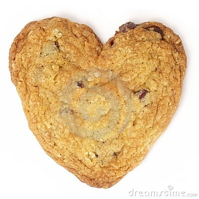 Heart-Shaped Chocolate Chip Cookie