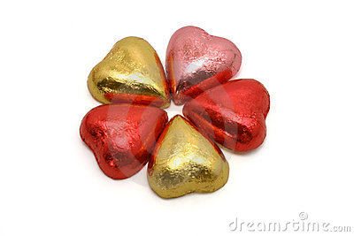 Heart shaped chocolates in color wrappings