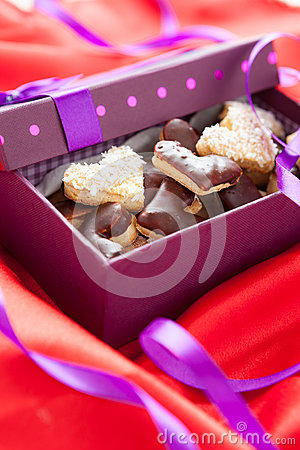 Heart shaped chokolate cookies  in small box