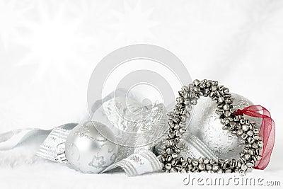 Heart Shaped Christmas Bells over white